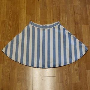 American Apparel blue/white striped skater skirt